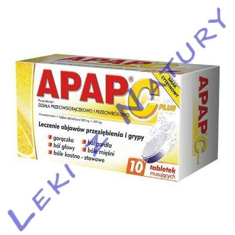 Apap C Plus (Paracetamol + Vit. C) - 10 tabletek musujących